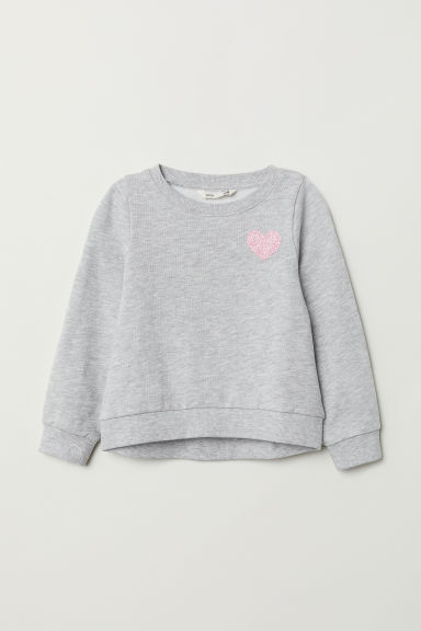 Printed sweatshirt - Light grey marl/Heart - Kids | H&M CN