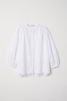 Hole-embroidered cotton blouse