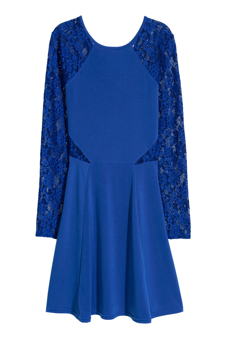 Jersey dress with lace - Bright blue -  | H&M CN