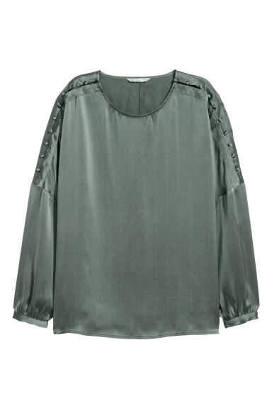 Silk blouse - Dusky green -  | H&M CN