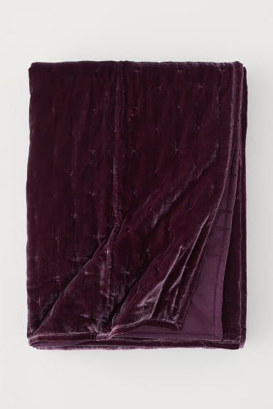 Velvet bedspread - Burgundy - Home All | H&M CN