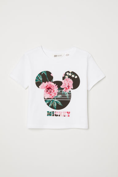 Printed T-shirt - White/Mickey Mouse - Kids | H&M CN