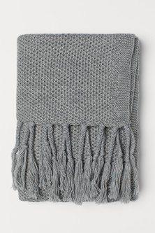 Knit Throw with Fringe