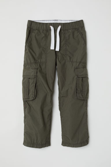 Cotton poplin cargo trousers - Dark khaki green -  | H&M