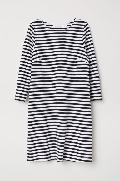 Cotton jersey dress - Black/White striped - Ladies | H&M CN