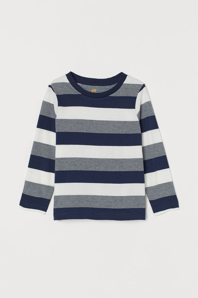Jerseyshirt - Marineblau/Gestreift - Kids | H&M AT