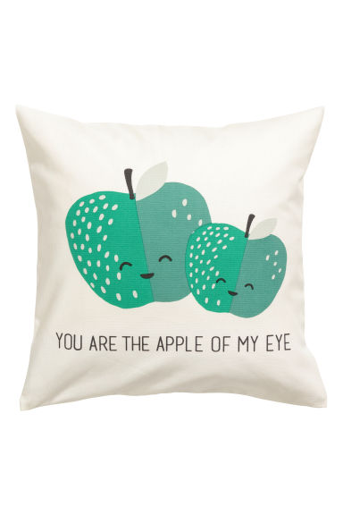 Cushion cover with a motif - White/Apples -  | H&M CN
