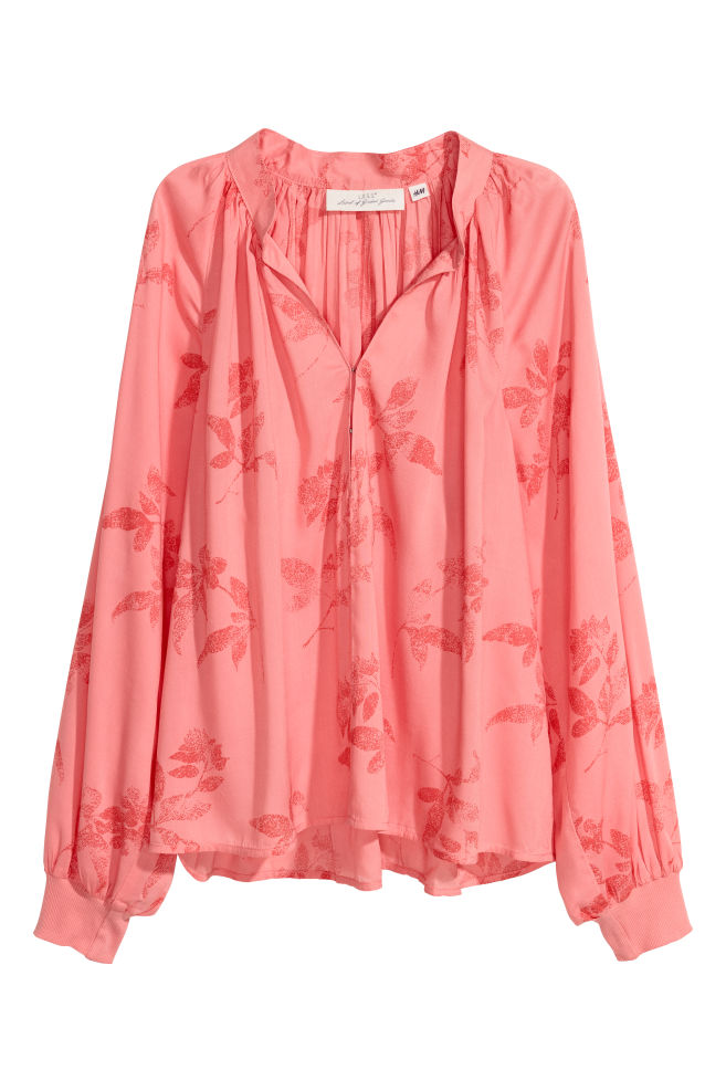 3bf49456c7fed V-neck blouse - Coral pink Floral - Ladies