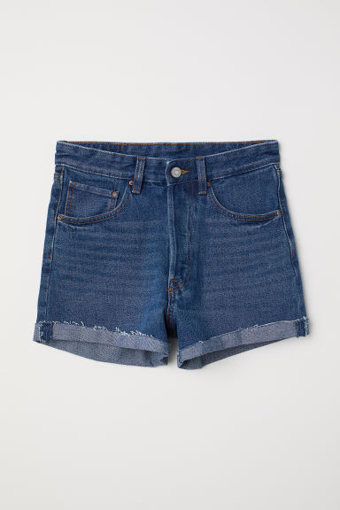 Denim shorts Mom Fit - Dark denim blue - Ladies | H&M CN