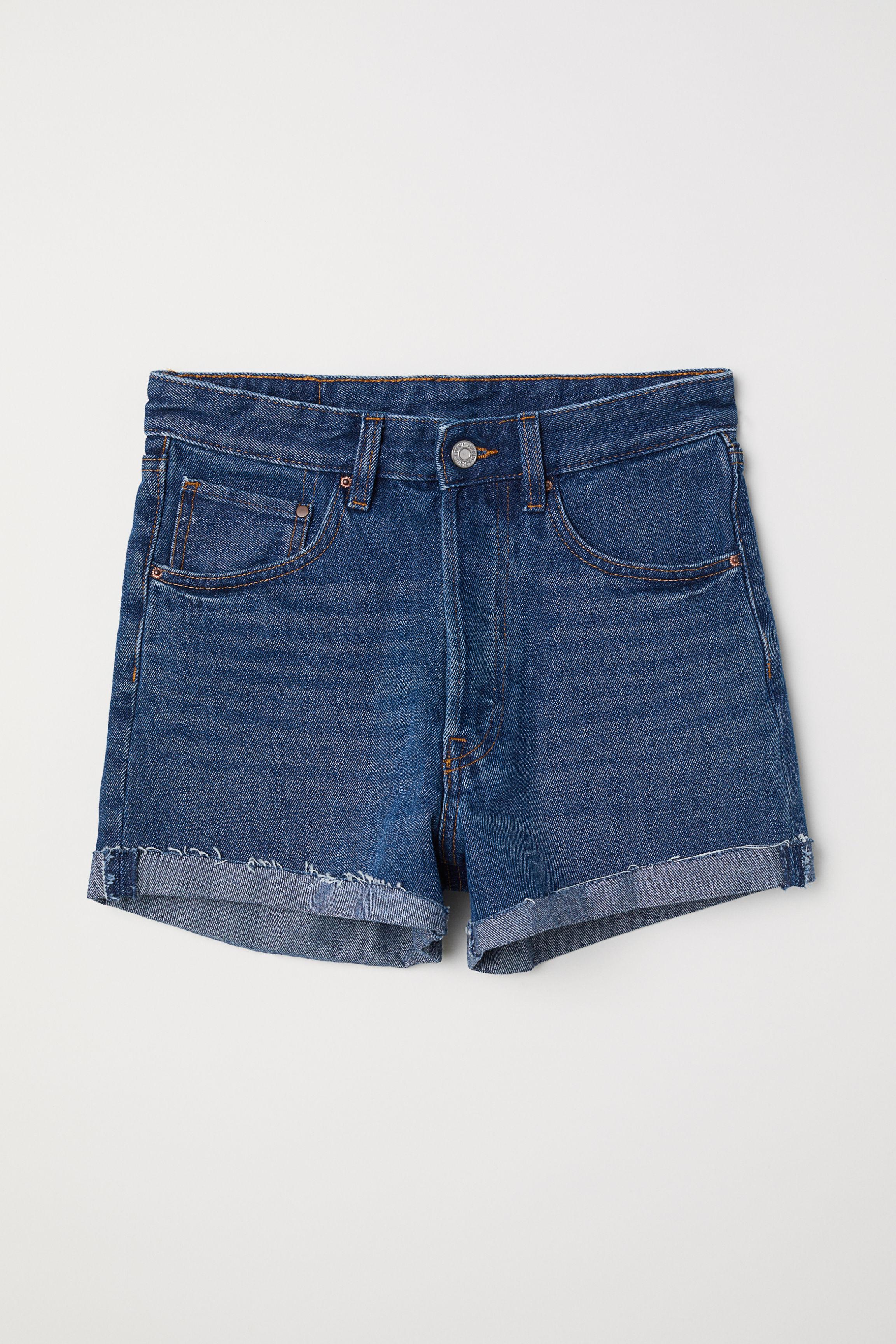 e265f9e771 Mom Fit Denim Shorts - Denim blue/trashed - Ladies | H&M US