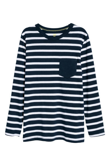 Long-sleeved jersey top - Dark blue/White striped -  | H&M CN