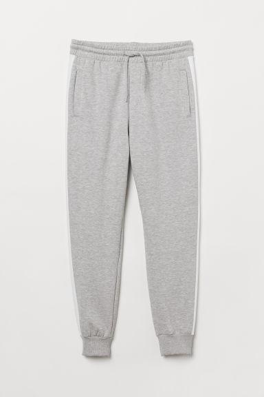 Joggers with side stripes - Grey marl - Men | H&M CN
