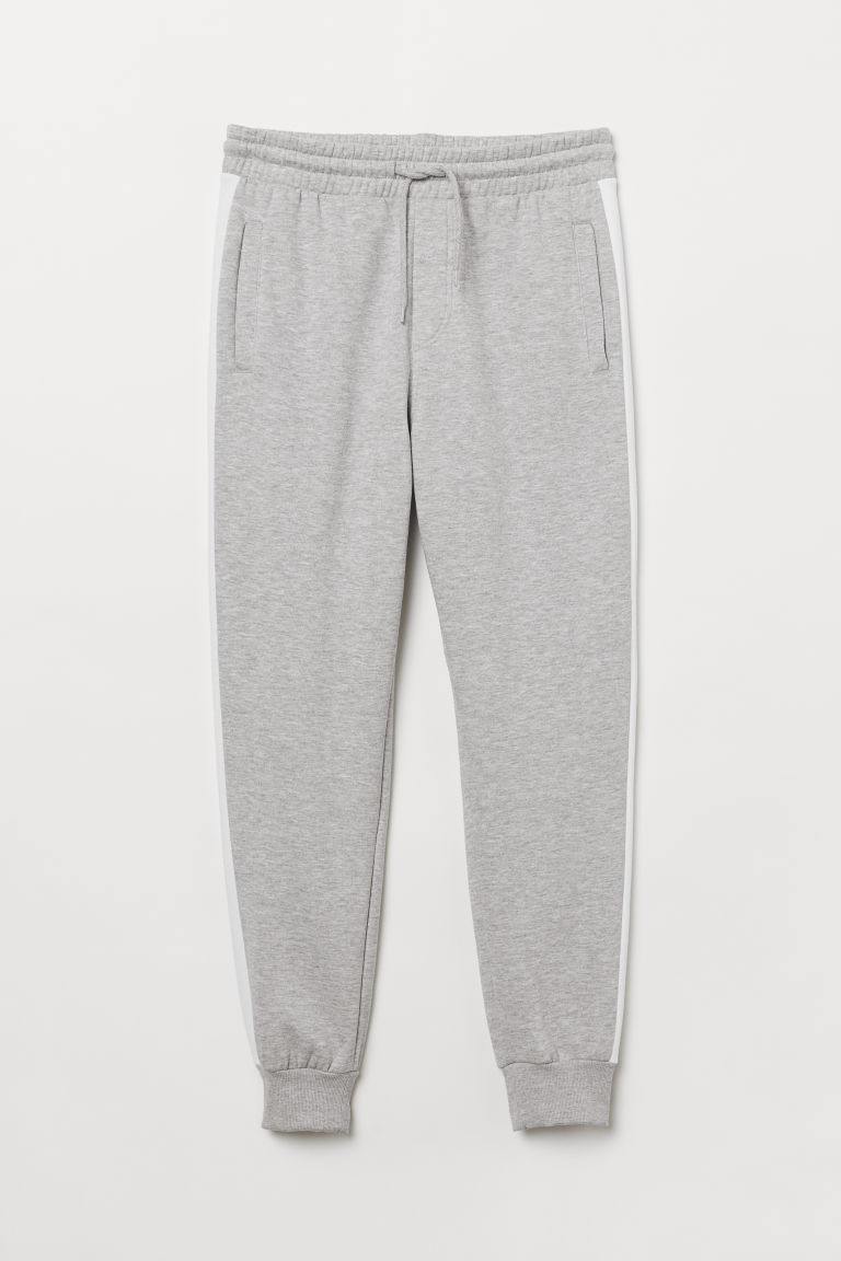 Joggers with side stripes - Light grey marl/White - Men | H&M