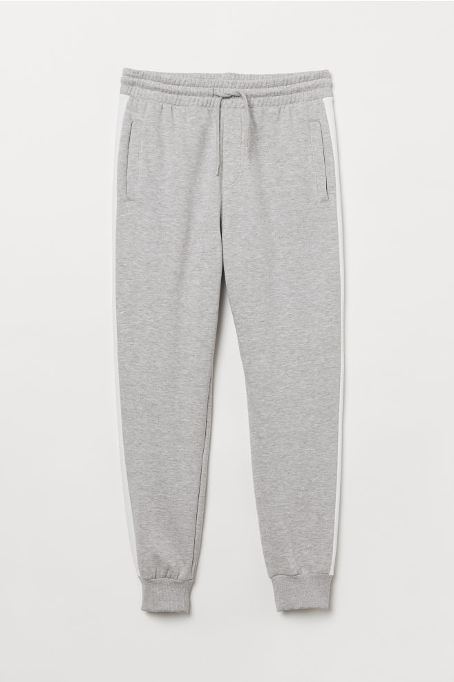 77d8901f7b2 ... Joggers with Side Stripes - Light gray melange white -