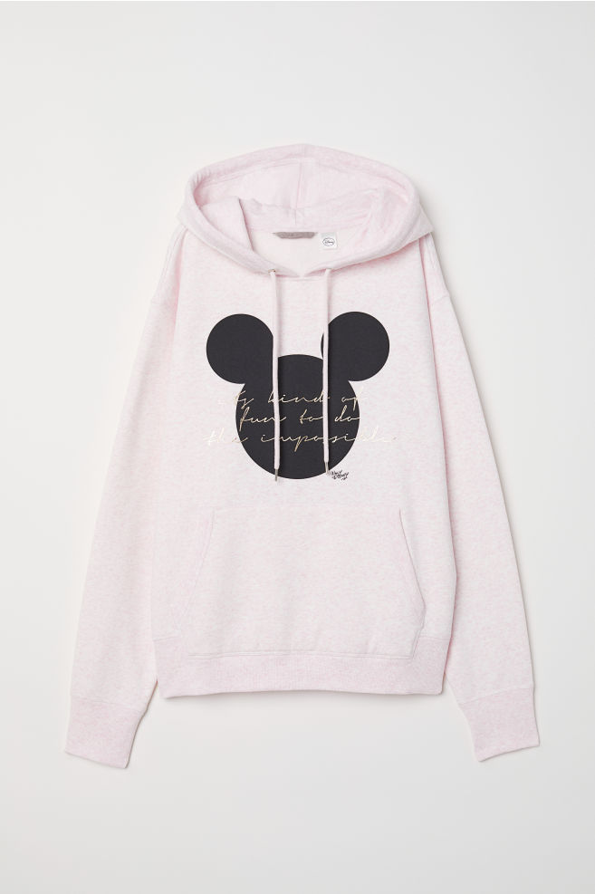 823bbbe052 H&M+ Printed hooded top - Pink marl/Mickey Mouse - Ladies | H&M ...