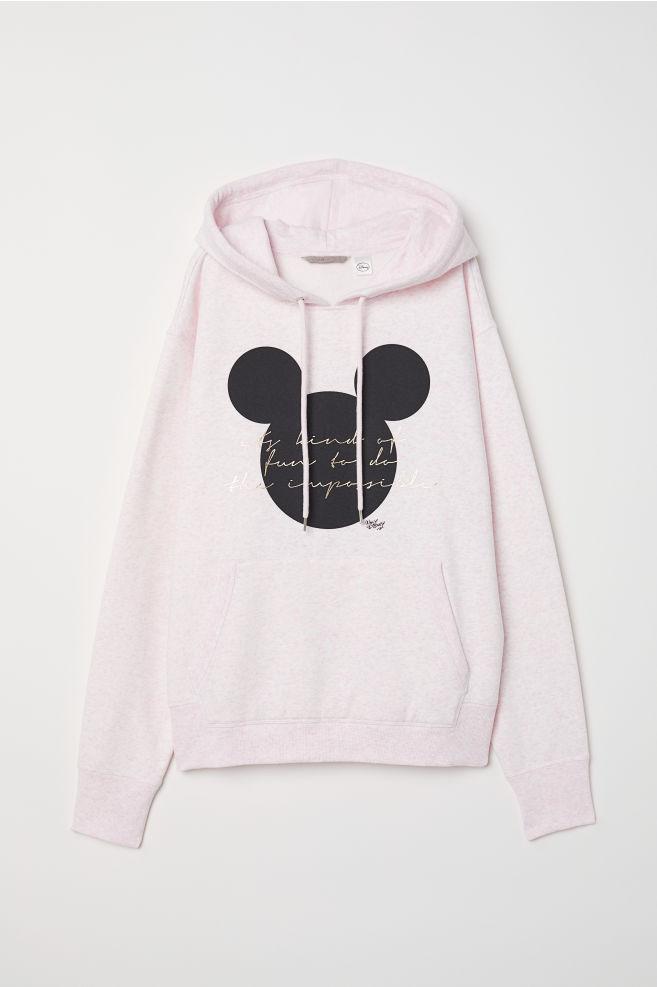 ed4cc2e23f0d80 H&M+ Bluza z kapturem - Różowy melanż/Myszka Miki - ONA | H&M ...
