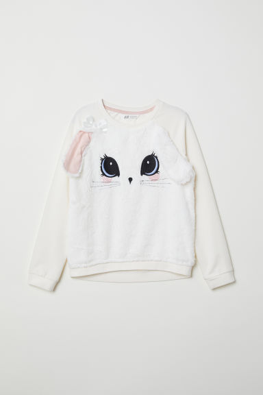 Sweatshirt with appliqués - Natural white/Rabbit - Kids | H&M