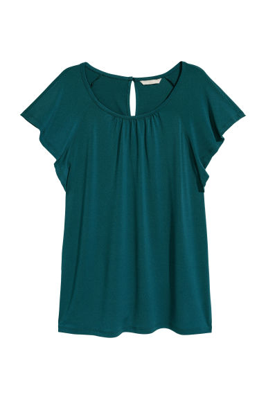 Crêpe top - Emerald green -  | H&M CN