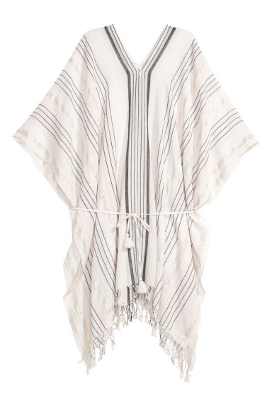 Cotton poncho - Natural white/Black/Striped - Ladies | H&M