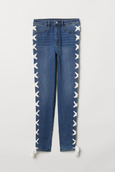 Jeans with lacing - Denim blue - Ladies | H&M