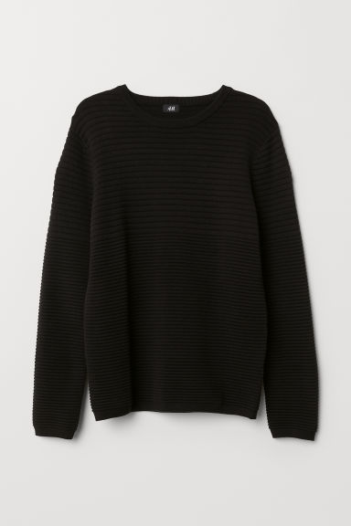 Textured-knit jumper - Dark blue - Men | H&M