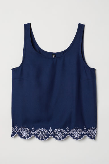 Top with broderie anglaise - Dark blue - Ladies | H&M CN