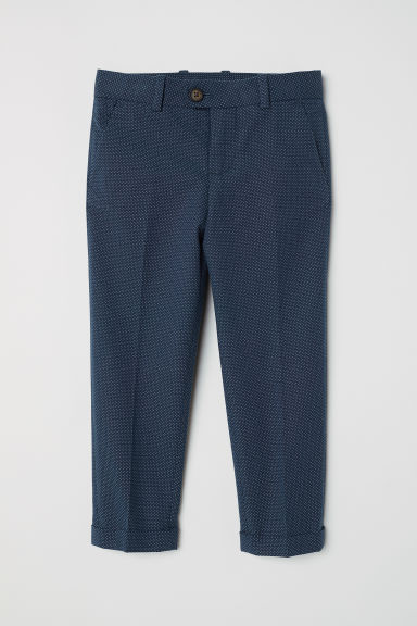 Cotton suit trousers - Dark blue/Spotted -  | H&M