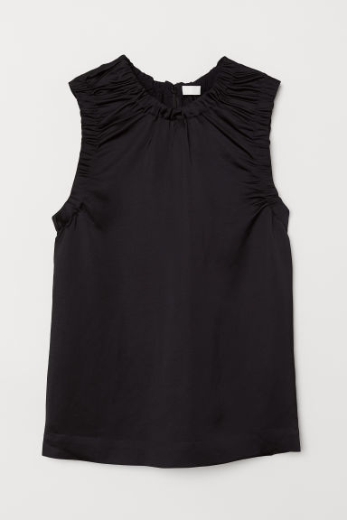 Linen-blend top - Black - Ladies | H&M