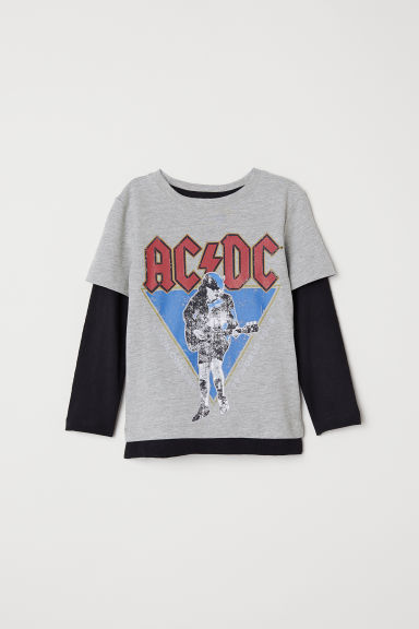 Printed T-shirt - Grey marl/AC/DC - Kids | H&M