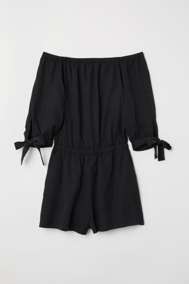 Off-the-shoulder playsuit - Black - Ladies | H&M GB