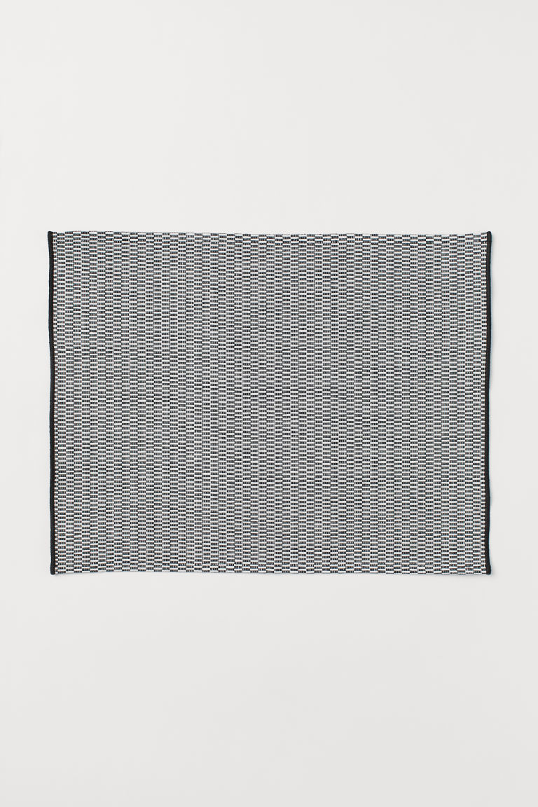 Cotton table mat - Black/White checked - Home All | H&M CN