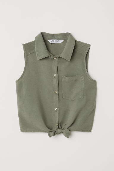Sleeveless tie-front blouse - Khaki green - Kids | H&M
