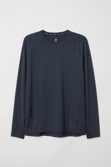 Long-sleeved running top - Dark blue - Men | H&M