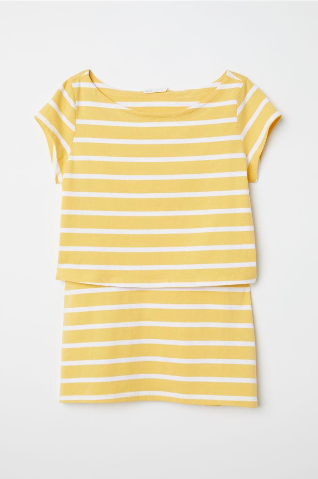 079bdb35e441 MAMA Nursing top - Yellow White striped - Ladies