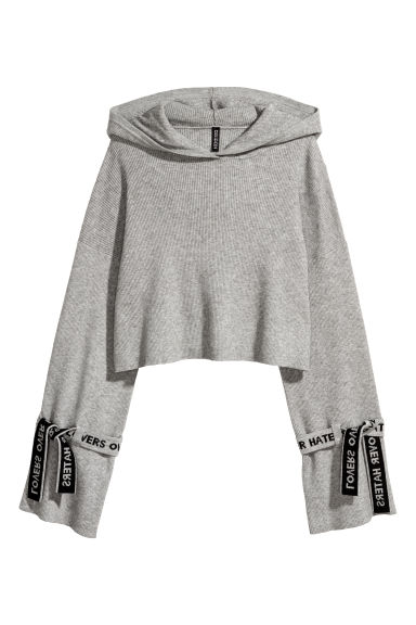 Ribbed hooded jumper - Grey marl -  | H&M