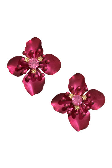 Metal earrings - Dark pink -  | H&M CN