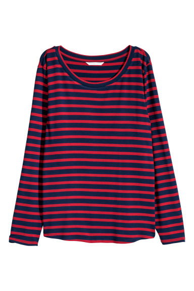 Long-sleeved jersey top - Dark blue/Red striped - Ladies | H&M