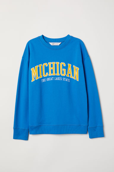 Printed sweatshirt - Bright blue/Michigan - Kids | H&M CN
