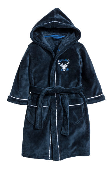 Fleece dressing gown - Dark blue - Kids | H&M