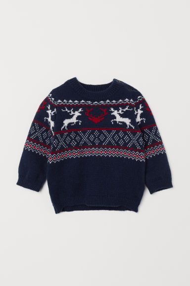 Jacquard-knit jumper - Dark blue/Reindeer - Kids | H&M CN