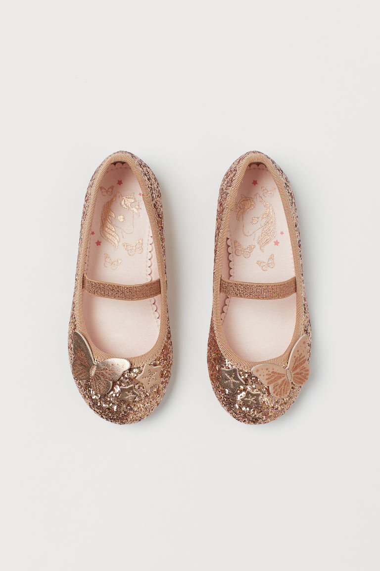Shimmering ballet pumps - Rose gold-coloured/Butterfly - Kids | H&M