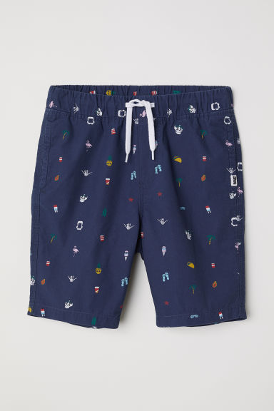 Cotton shorts - Dark blue/Patterned -  | H&M CN