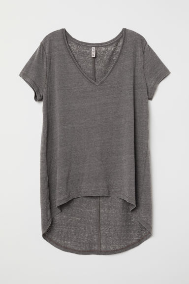 V-neck jersey top - Dark grey - Ladies | H&M