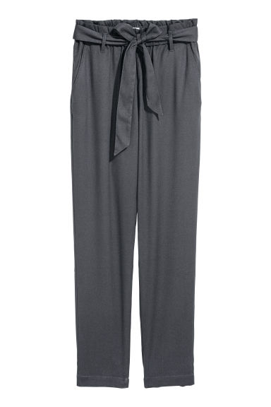 Trousers with a tie belt - Dark grey -  | H&M CN