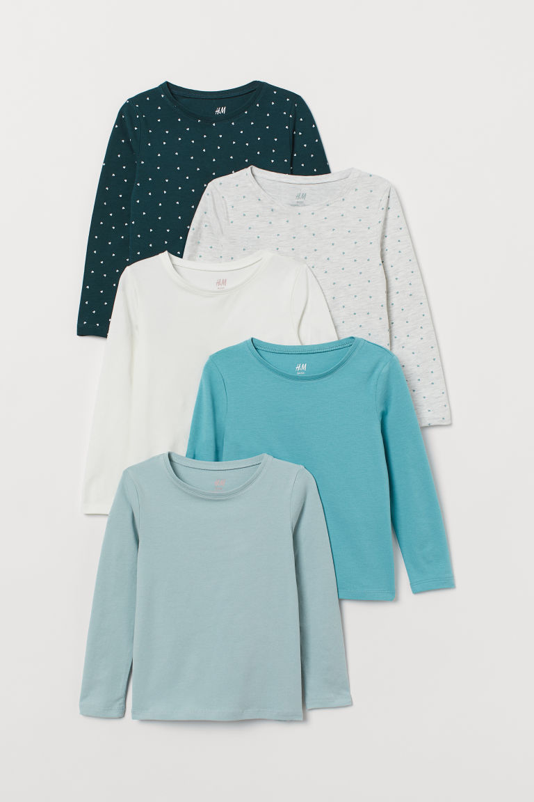 5-pack Jersey Tops - Dark green/turquoise/white - Kids | H&M CA