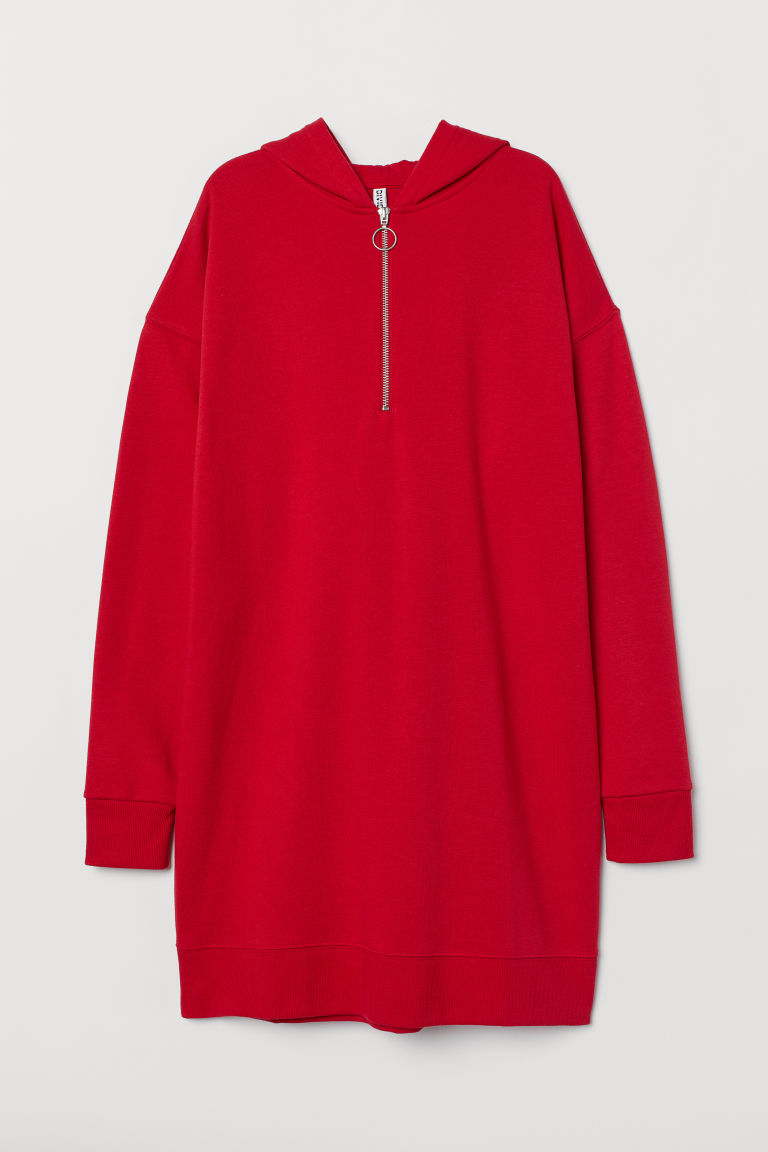 Hooded sweatshirt dress - Red - Ladies | H&M CN