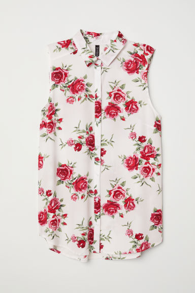 Sleeveless viscose blouse - White/Roses - Ladies | H&M CN