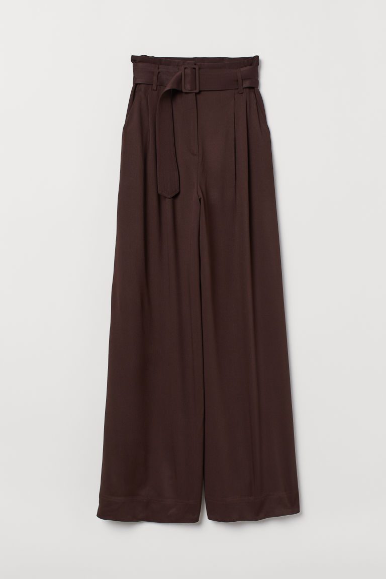 Wide paper bag trousers - Brown - Ladies | H&M