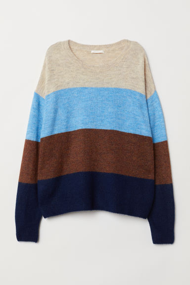 Knitted jumper - Light blue/Block-striped - Ladies | H&M GB