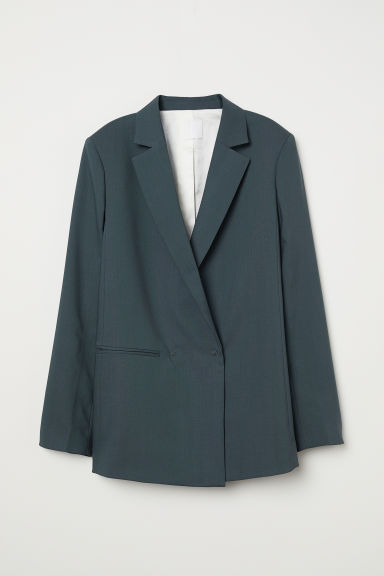 Double-breasted wollen blazer - Nevelgroen - DAMES | H&M NL